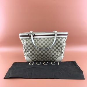 Preowned Gucci GG Mayfair Bow Beige Canvas Tote